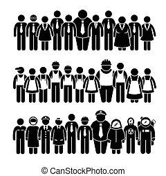 ludzie, pracownik, grupa