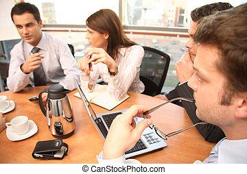 ludzie, pracujący, grupa, handlowy, brainstorm.