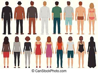 ludzie, prospekt, grupa, człowiek, litery, osoba, wstecz, odizolowany, kobieta stanie, handlowy