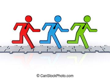 ludzie, puzzles., wyścigi, 3d, mały