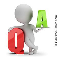 ludzie, -, pytanie, mały, odpowiedź, 3d