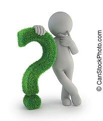 ludzie, pytanie, -, marka, zielony, mały, 3d