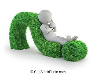 ludzie, pytanie, -, marka, zielony, mały, leżący, 3d