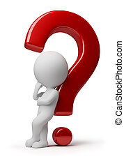 ludzie, -, pytanie, skomplikowany, mały, 3d