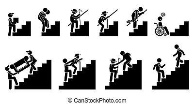 ludzie, różny, albo, schody, schodki.