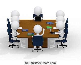 ludzie, razem., pracujący, handlowy, group., -, portret, osiem, grupa, rozmaity, spotkanie, praca