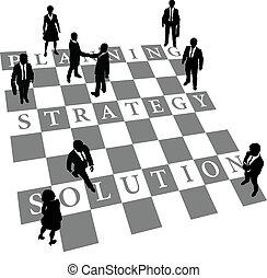 ludzie, rozłączenie, strategia, planowanie, szachy, ludzki