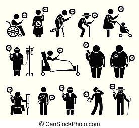 ludzie, ruchomy, medyczny, telefon, healthcare, app, need.