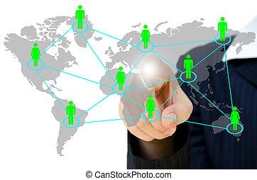 ludzie, rzutki, towarzyski, sieć, komunikacja, handlowy, whiteboard., młody