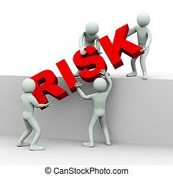 ludzie, słowo, pracujący razem, 3d, ryzyko, miejsce