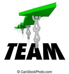 ludzie, słowo, pracujący razem, dźwig, drużyna, strzała