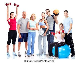 ludzie., sala gimnastyczna, fitness., uśmiechanie się