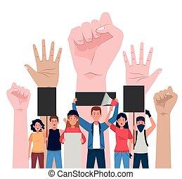 ludzie, siła robocza, protestując, megafon, grupa, do góry