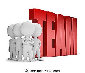 ludzie, solidny, -, drużyna, mały, 3d