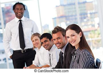 ludzie, spotkanie, handlowy