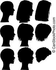 ludzie, sylwetka, portrety, komplet, głowy, prosty, twarze