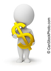 ludzie, -, symbol, dolar, siła robocza, mały, 3d