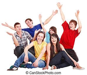 ludzie, szczęśliwy, młody, grupa, ręka, do góry.