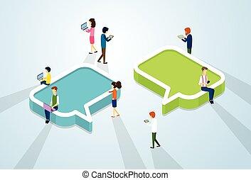 ludzie, tłum, sieć, komunikacja, towarzyski, media