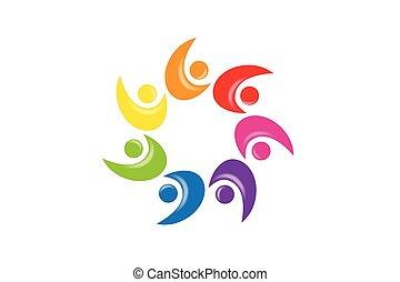 ludzie, teamwork, jedność, logo