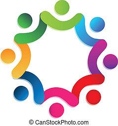 ludzie, teamwork, miłosierdzie, logo, wektor