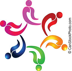 ludzie, teamwork, partia, logo, wektor