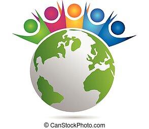 ludzie, teamwork, szczęśliwy, logo, wektor