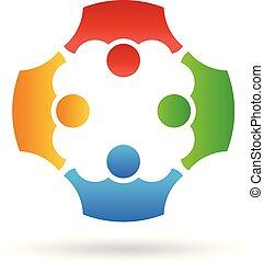 ludzie, teamwork, wektor, grupa, logo