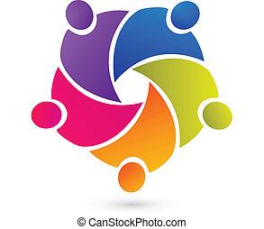 ludzie, teamwork, zjednoczenie, logo, wektor