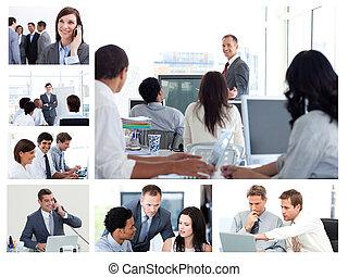 ludzie, technologia, handlowy, używając, collage