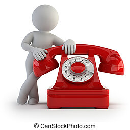 ludzie, -, telefon krzyk, mały, 3d