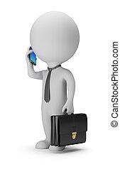 ludzie, -, telefon, mały, biznesmen, 3d