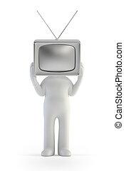 ludzie, telewizja, -, mały człowiek, 3d