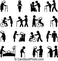 ludzie, troska, inwalidztwo, pielęgnacja, zdrowie, niepełnosprawny, ikony