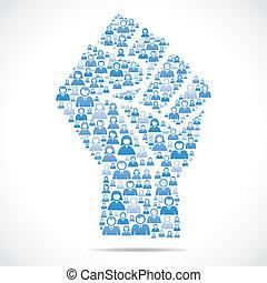 ludzie, ustalać, grupa, ręka, jedność