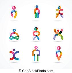 ludzie, wektor, abstrakcyjny, zbiór, barwny