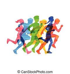 ludzie, wektor, ilustracja, tłum, maraton, isolated., pasaż, abstrakcyjny, skutek, kolor