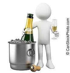 ludzie., wiadro, butelka, biały, szampan, 3d
