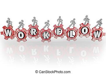 ludzie, workflow, pracujący, teamwork, razem, mechanizmy, workforce