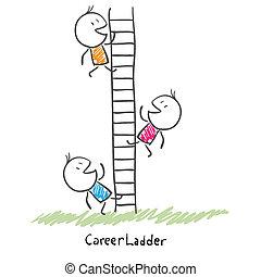 ludzie, wspinaczkowy, konceptualny, kariera, ladder., handlowy, zbiorowy, do góry, ilustracja