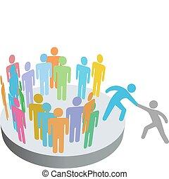 ludzie, wstąpić, pomoce, osoba, członki, grupa, towarzystwo, pomocnik