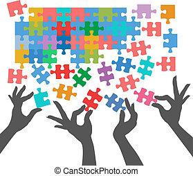 ludzie, wstąpić, zagadka, znaleźć, stosunek