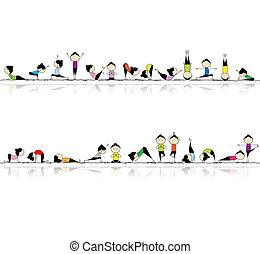 ludzie, yoga, twój, tło, seamless, practicing, projektować