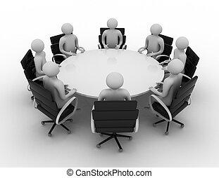ludzie, za, -, stół., okrągły, odizolowany, 3d, sesja, image.