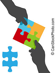 ludzie, zagadka, siła robocza, rozłączenie, drużyna, współpraca