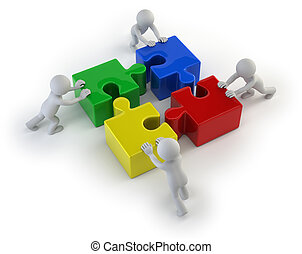 ludzie, -, zagadki, drużyna, mały, 3d