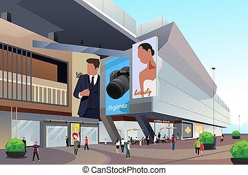 ludzie, zewnątrz, zakupy, ilustracja, mall