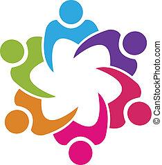 ludzie, zjednoczenie, wektor, teamwork, 6, logo