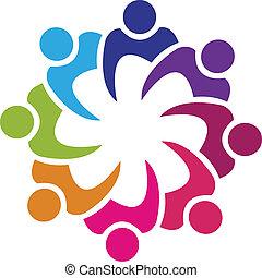 ludzie, zjednoczenie, wektor, teamwork, 8, logo