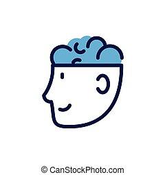 ludzki, człowiek, głowa, białe tło, mózg